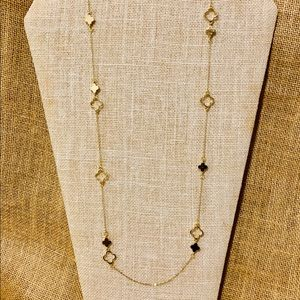 Gold Tone Open-Closed Multi Clover Design Necklace